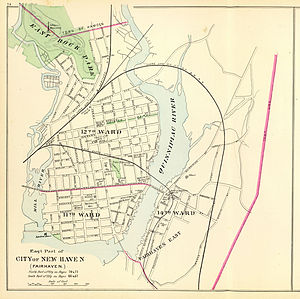 Shore Line Railway (Connecticut) - 1893 map showing the old and new alignments near New Haven