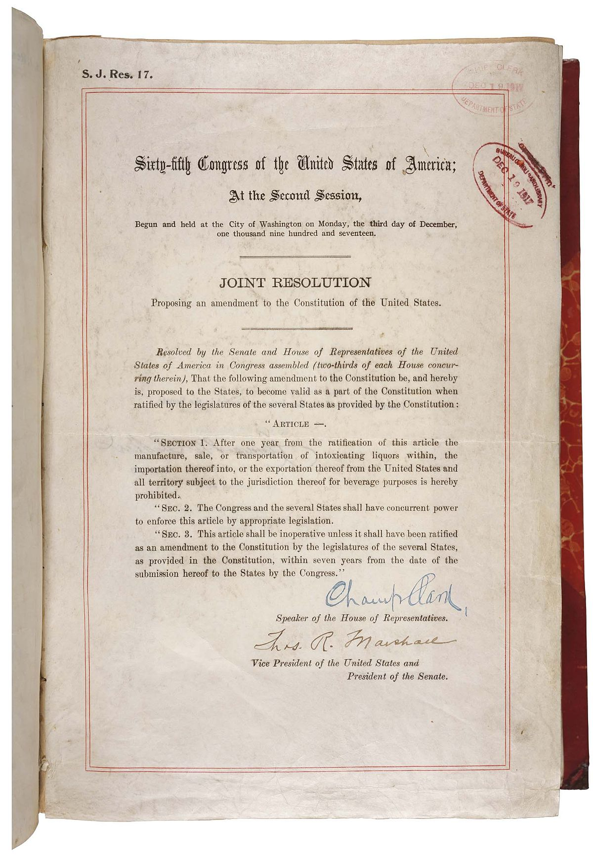 Eighteenth Amendment to the United States Constitution ...