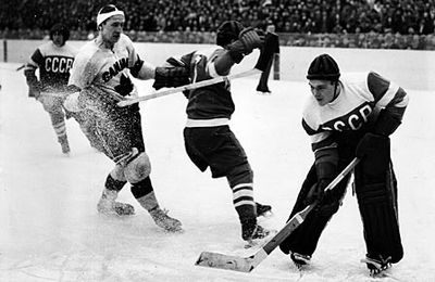 The game between Canada and the Soviet Union at the 1954 World Championships, which the Soviets won 7-2. 1954 World Ice Hockey Championships Canada vs Soviet.jpg