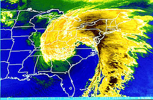 1993 Storm of the Century - A satellite image of the Storm of the Century on March 13, 1993.