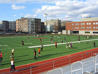 Memorial High School (West New York, New Jersey) - Students using the athletic field at Memorial Park.