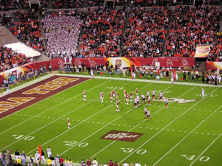 Virginia Tech, with Marcus Vick behind center, drives inside the Florida State red zone. 2005 ACC title game FSU VT.jpg