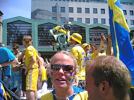 Swedish supporters during the 2006 FIFA World Cup in Dortmund, Germany