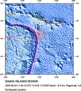 2009-09-29 Samoa Island Region earthquake location.jpg