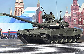 T-90 - Russian Army T-90A tank on display during parade festivities in May 2013.
