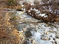 2014-11-11 15 31 23 View down a frozen Lamoille Creek from the Roads End Trailhead in Lamoille Canyon, Nevada.JPG
