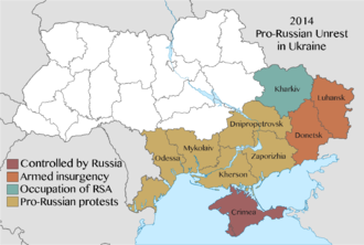 2014 pro-Russian unrest in Ukraine - Map of protests by region, indicating the severity of the unrest at its peak