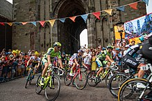 Tour de France pelleton 9th of July 2005 at the begin of the ascend to Cote de Bad Herrenalb
