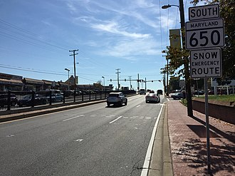 MD 650 southbound in Takoma Park 2016-10-18 12 51 45 View south along Maryland State Route 650 (New Hampshire Avenue) at Maryland State Route 193 (University Boulevard) in Takoma Park, Montgomery County, Maryland.jpg