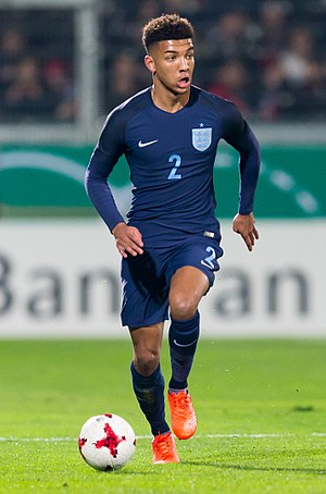 Mason Holgate - Holgate playing for England U21 in 2017