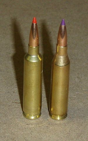 Wildcat cartridge - .243 Winchester Ackley Improved (left) and .243 Winchester (right)