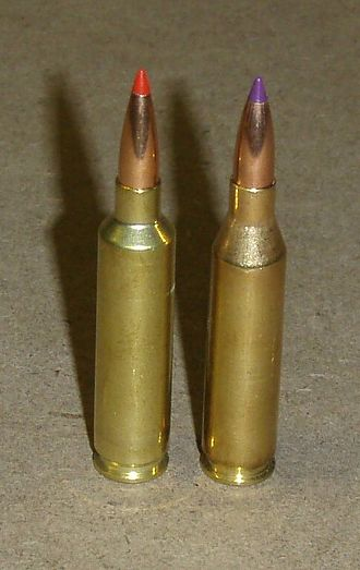 "P.O. Ackley - A .243 Winchester (right) beside the Ackley Improved version; note that only the shoulder angle is changed to the sharper shoulder angle typical of the Ackley Improved cartridges. In this instance the shoulder diameter of the Improved normally remains the same as the original case at .456""-.457"" with no significant change in body taper. However, minor variations exist with some drawings showing a slightly larger .460"" shoulder diameter."
