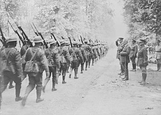 28th Battalion (Northwest), CEF - 28th Battalion marching past Sir Robert Borden. July, 1918