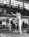 2nd Leonidas Pirgos Fencing Tournament. The fencer on the left scores a touch.jpg