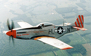 "15th Expeditionary Mobility Task Force - Restored P-51D of the 31st Fighter Group, 308th Fighter Squadron, ""Flying Dutchman"", showing 12 aerial victories."