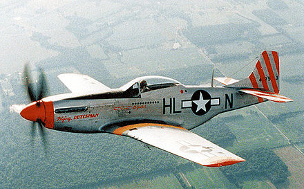 "Restored P-51D of the 31st Fighter Group, 308th Fighter Squadron, ""Flying Dutchman"", showing 12 aerial victories."