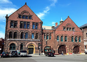 Boston Architectural College - 951/955 Boylston Street; the rightmost large doors house a Boston Fire Department station