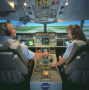 Cockpit of a twinjet flight simulator. Indisti...