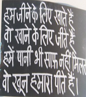 "Jan Lokpal Bill - Hindi Sign at Ramlila Grounds: ""We eat to live, they live to eat, we do not even receive clean drinking water, yet they drink our blood"""