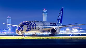R2-D2 - In 2015 All Nippon Airways unveiled a Boeing 787-9 in a special R2-D2 livery, which is colloquially referred to as R2D2JET. This aircraft is seen here at Tokyo International Airport (March 2016).