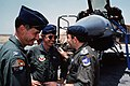 A Royal Jordanian air force official converses with Lieutenant Colonel (LTC) Dan Dick, 33rd Tactical Fighter Squadron commander, during Exercise SHADOW HAWK'87, a phase of BRIGHT ST - DPLA - b4e6aa0c8de2bf34d658bc00b3797ddd.jpeg