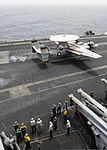 A U.S. Navy E-2C Hawkeye aircraft attached to Airborne Early Warning Squadron (VAW) 117 lands on the flight deck of the aircraft carrier USS Nimitz (CVN 68) in the Gulf of Oman July 31, 2013 130731-N-TW634-046.jpg