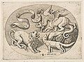 A lion, dragon and fox fighting each other, an inscribed banderole above, an oval composition MET DP818731.jpg