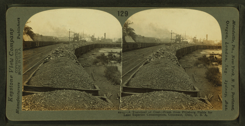 File:A trainload of coal from Pittsburgh fields for Lake Superior consumption, Conneaut, Ohio, by Keystone View Company.png