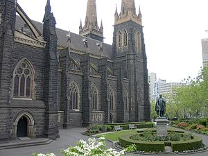 St Patrick's Cathedral, Melbourne - St Patrick's Cathedral, Melbourne. The statue in the foreground is of the Irish nationalist leader Daniel O'Connell