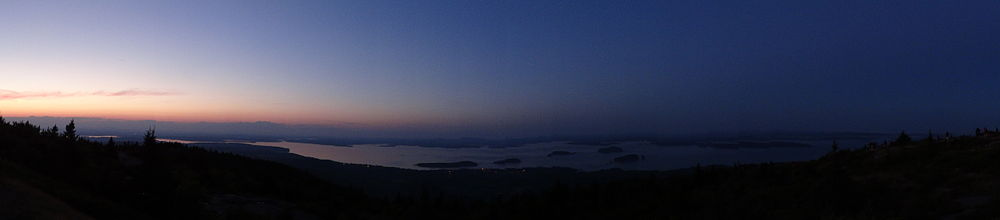Twilight view from summit of Cadillac Mountain