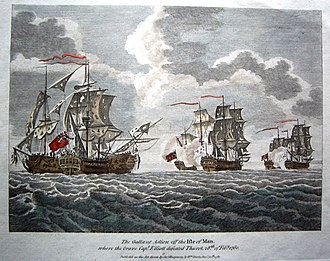 Battle of Bishops Court - 'The Gallant Action off the Isle of Man where the brave Captain Elliott defeated Thurot 28th of February 1760'.