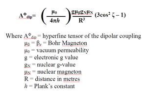 Electron nuclear double resonance - Hyperfine tensor of dipolar coupling