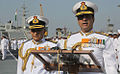 Admiral RK Dhowan addressing the members of media during the Naval Investiture Ceremony held on board Indian Naval Ship Viraat at Naval Dockyard Mumbai.JPG