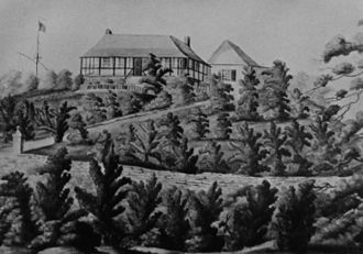 Admiralty House, Mount Wyndham, Bermuda, where the attack was planned Admiralty House Bermuda at Mount Wyndham 1818.jpg