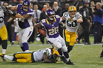 Halfback (American football) - Adrian Peterson running with the ball