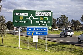 Advance directional (AD) sign with an alphanumeric route plated fitted on Olympic Highway in Wagga Wagga (3).jpg