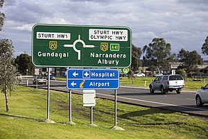 Olympic Highway - Image: Advance directional (AD) sign with an alphanumeric route plated fitted on Olympic Highway in Wagga Wagga (3)