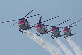 Aerobatic display by the Sarang during Combined Graduation Parade at Dundigal Air Force Academy on 21st December 2019.jpg