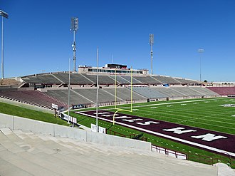 Aggie Memorial Stadium - Image: Aggie Memorial Stadium South Side End Zone & Press Box 01