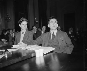 Agnes Reynolds and Joseph P. Lash of the American Student Union before the Dies Committee, 1939.