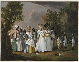 "Agostino Brunias - ""Free Women of Color with their Children and Servants in a Landscape"", oil painting, Agostino Brunias.Brooklyn Museum"