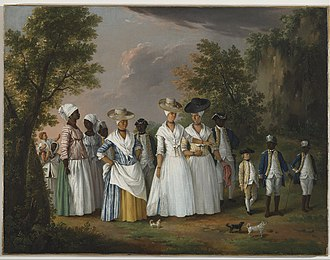 Miscegenation - Free Women of Color with their Children and Servants, oil painting by Agostino Brunias, Dominica, c. 1764–1796