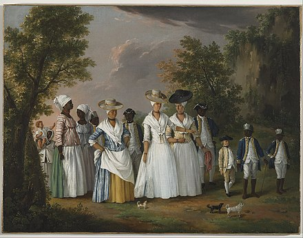 Free Women of Color with their Children and Servants, oil painting by Agostino Brunias, Dominica, c. 1764-1796 Agostino Brunias - Free Women of Color with their Children and Servants in a Landscape - Google Art Project.jpg