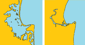 1931 Hawke's Bay earthquake - Comparison map of the extent of Ahuriri Lagoon before(left) and after(right) the 1931 Hawke's Bay earthquake.
