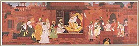 Akbar, Todarmal, Tansen and Abul Fazal, Faizi and Abdur Rahim Khan-i-Khana in a court scene (16th Century A.D.).jpg