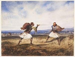 Alexandre-Gabriel Decamps - Image: Albanian Duel by Alexandre Gabriel Decamps 1828