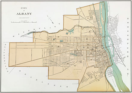 This 1895 map of Albany shows the gridded block system as it expanded around the former turnpikes. Albany New York 1895 Restored.jpg