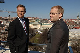 Alexander Stubb - Alexander Stubb with Minister Urmas Paet in April 2008.