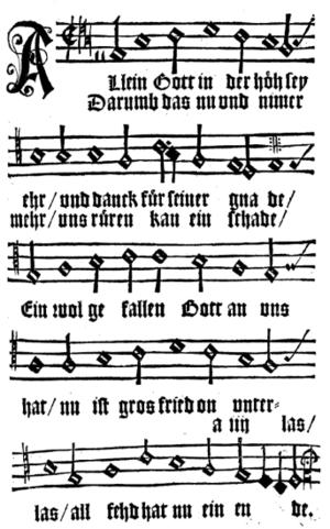 Allein Gott in der Höh sei Ehr - Print in Johann Spangenberg's Kirchengesenge Deudtsch, Magdeburg 1545