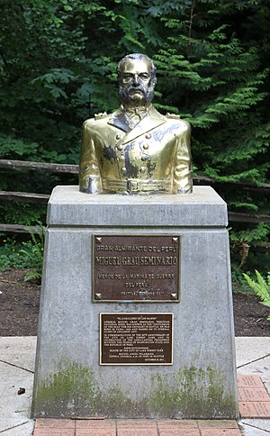 Miguel Grau Seminario - Bust of Almirante Grau Seminario in Lake Forest Park, Washington, USA